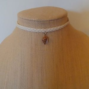 Trendy Leather and Shell Choker
